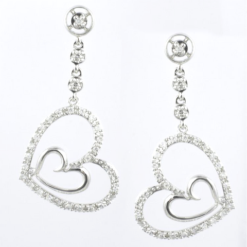 14 Kt White Gold Diamond Ladies' Heart Earrings