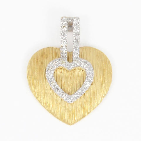 14 Kt Two Tone Gold Double Heart Charm