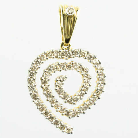 14 Kt Yellow Gold & Diamond Swirl Heart Charm