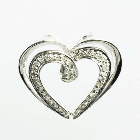 14 Kt White Gold Diamond Heart