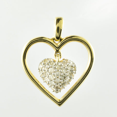 14 Kt Yellow Gold & Diamond Double Heart Charm