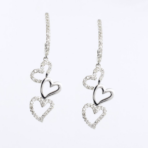 14 Kt White Gold Heart Diamond Earrings