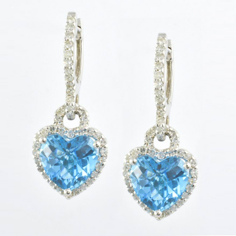 14 Kt White Gold & Topaz Ladies' Heart Earrings