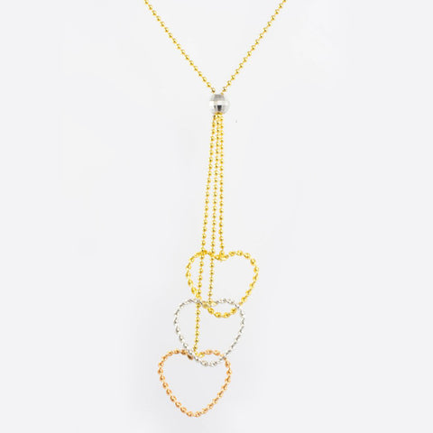 14 Kt Tri-Color Gold Hearts Necklace