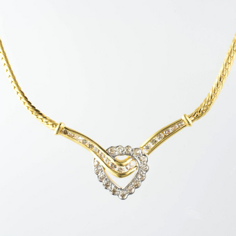 14 Kt Yellow Gold Diamond Heart Necklace