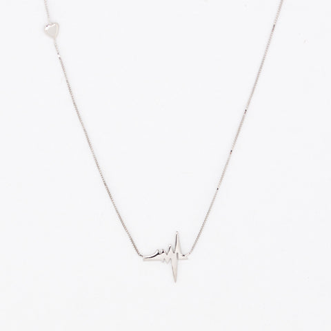 14 Kt White Gold Heartbeat Necklace