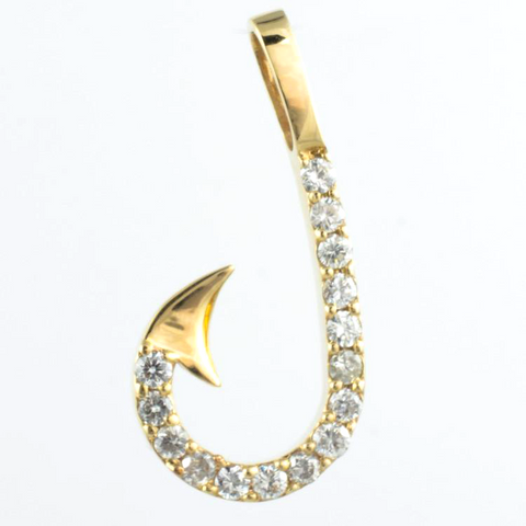 14 Kt Yellow Gold Fish Hook Diamond Charm