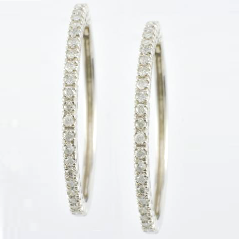14 Kt White Gold & Diamond Hoop Ladies' Earrings