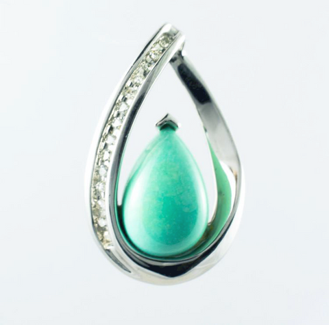 14 Kt White Gold Turquoise & Diamond Charm