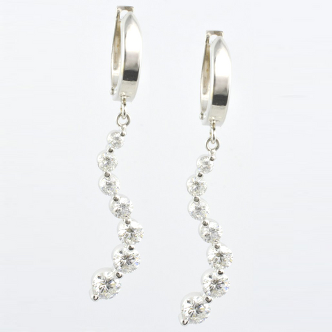 14 Kt White Gold Diamond Journey Ladies' Earrings