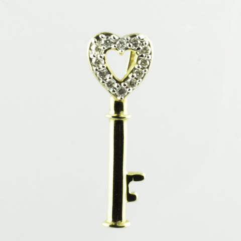 14 Kt Yellow Gold & Diamond Heart Key Charm
