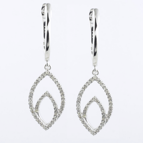 14 Kt White Gold Leaf Diamond Earrings