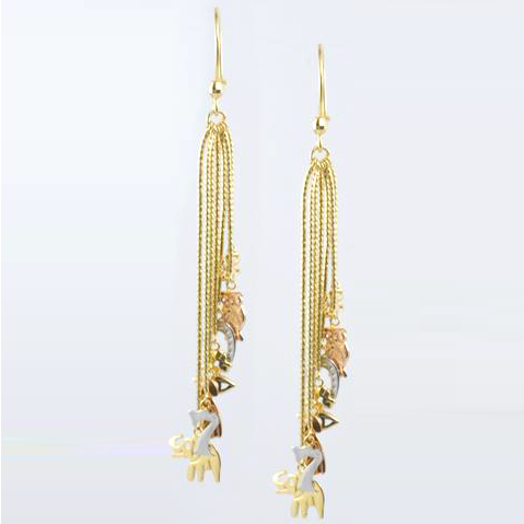 14 Kt Tricolor Gold Lucky Ladies' Hanging Earrings