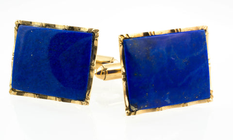 14 Kt Yellow Gold & Lapis Lazuli Cuff Links