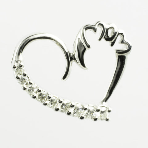 14 Kt White Gold Diamond 'Mom' Heart