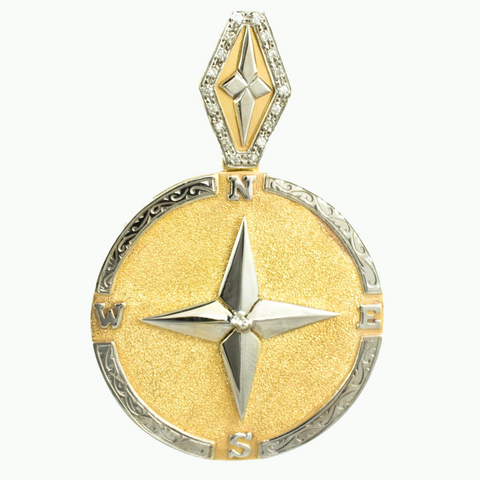 14 Kt Two Tone Diamond Compass Rose Charm