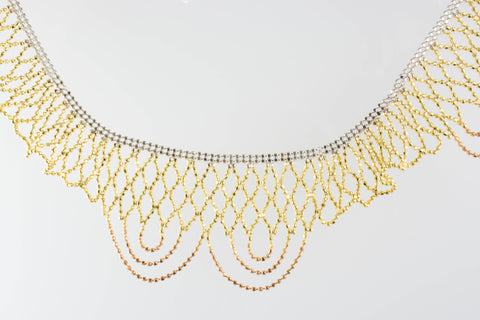 14 Kt Gold Two-Tone Lace Necklace