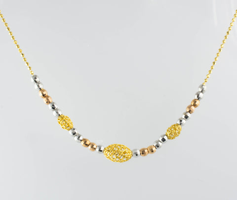 14 Kt Tri-Color Gold Balls Necklace