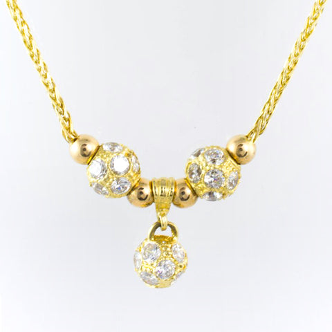 14 Kt Yellow Gold C/Z Necklace