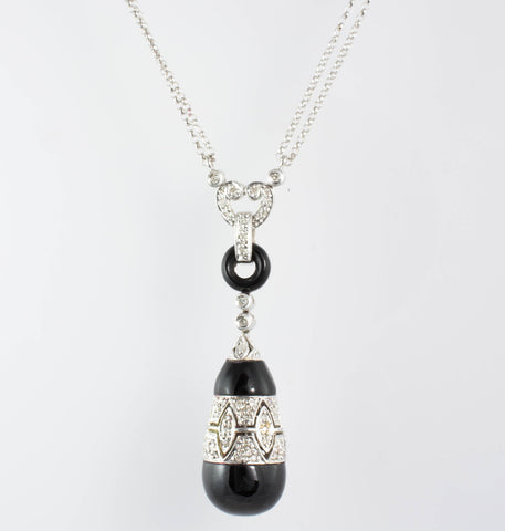 14 Kt White Gold Onyx & Diamond Necklace