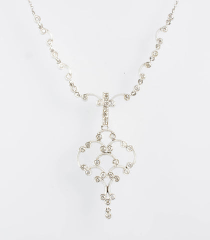 14 Kt White Gold Diamond Necklace