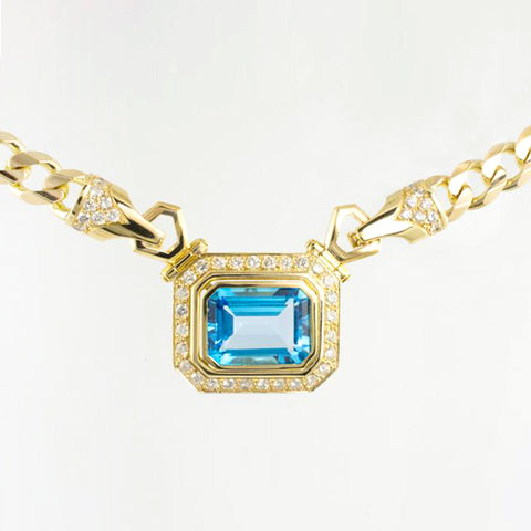 14 Kt Yellow Gold Blue Topaz & Diamond Necklace