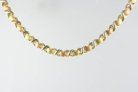 14 Kt Tri-Color Gold Hugs & Kisses Necklace