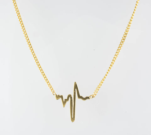 14 Kt Yellow Gold Heartbeat Necklace