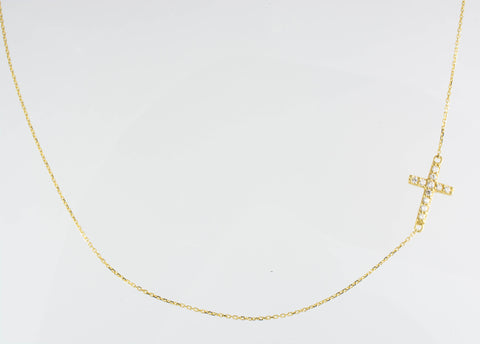 14 Kt Yellow Gold C/Z Cross Necklace