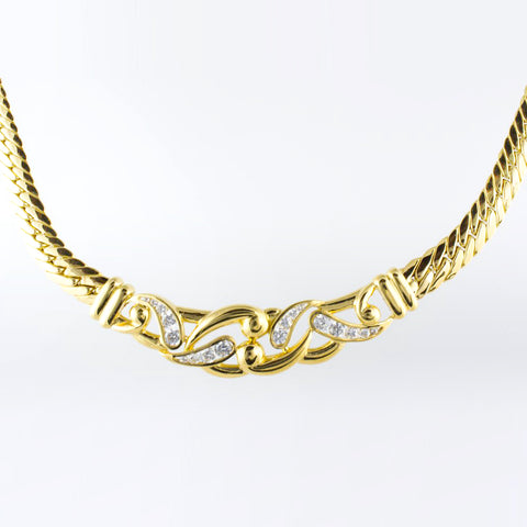14 Kt Yellow Gold C/Z Vintage Necklace