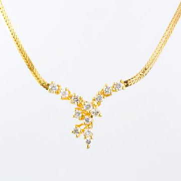 14 Kt Yellow Gold Diamond Necklace