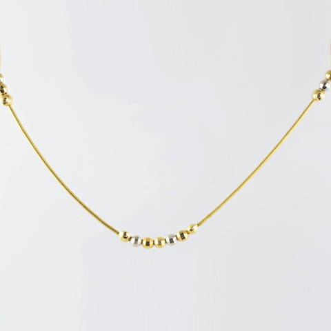 14 Kt Tricolor Gold Italian Ball Necklace