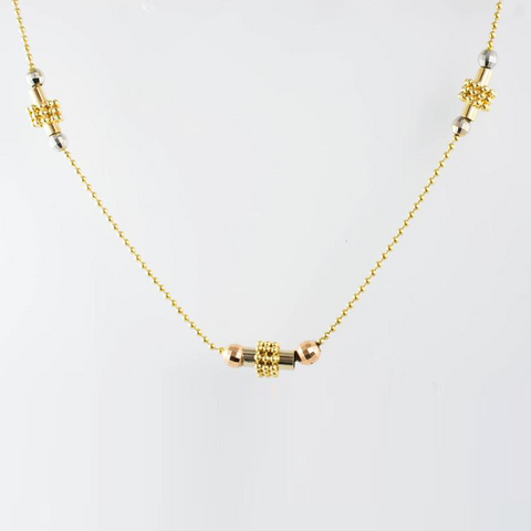 14 Kt Tricolor Gold Fancy Ball Necklace