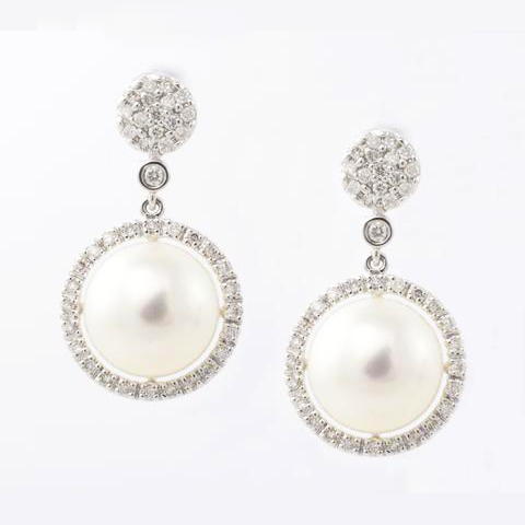 14 Kt White Gold Diamond and Pearl Ladies Earrings