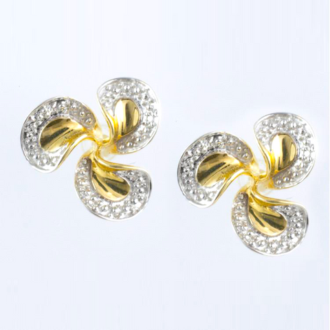 14 Kt Two Tone Gold Diamond Propellor Shaped Earrings