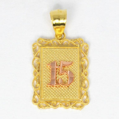"14 Kt Two Tone Gold ""15"" Charm"