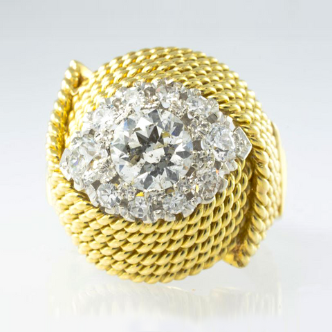 18 Kt Yellow Gold & Diamond Handmade Ladies' Ring
