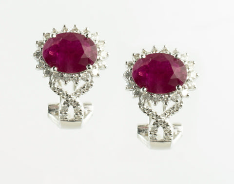 14 Kt White Gold Ruby & Diamond Set