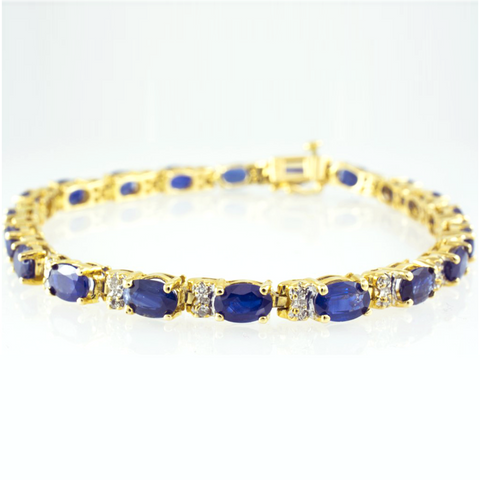 14 Kt Yellow Gold Sapphire & Diamond Ladies' Bracelet