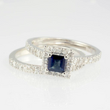 14 Kt White Gold Sapphire & Diamond Wedding Set