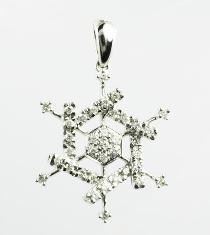 14 Kt White Gold Diamond Snowflake Charm