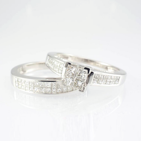 14 Kt White Gold Diamond Bridal Set