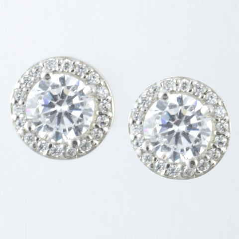 14 Kt White Gold C/Z Stud Ladies' Earrings