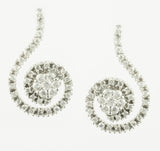 14 Kt White Gold Diamond Swirl Earrings & Pendant