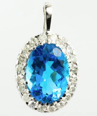 14 Kt White Gold Blue Topaz & Diamond Charm