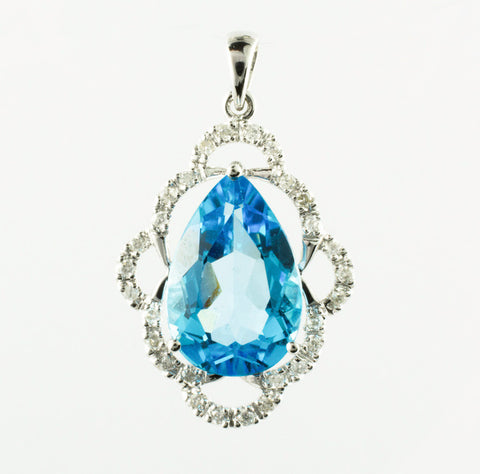 14 Kt White Gold Diamond & Topaz Charm
