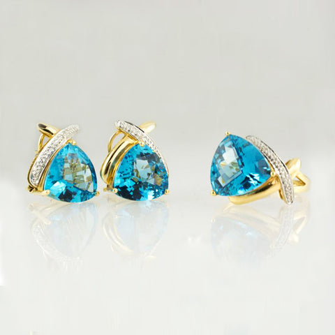14 Kt Yellow Gold Blue Topaz & Diamond Set