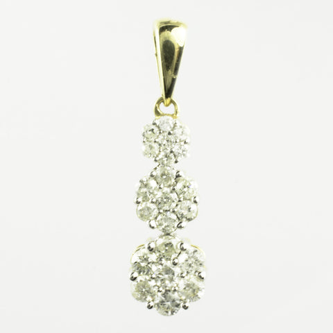 14 Kt Yellow Gold & Diamond Flower Charm