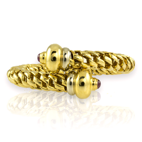 18 Kt Yellow Gold Bangle Circle Braid Ladies' Bracelet