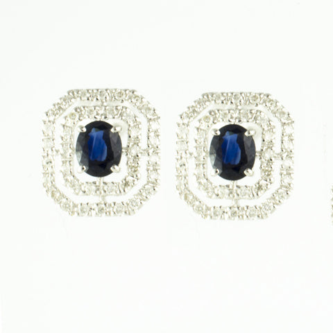 14 Kt White Gold Sapphire & Diamond Ladies' Earrings